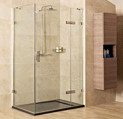 Roman Liber8 Shower Enclosure With Hinged Door (1000x1000mm, Nickel).