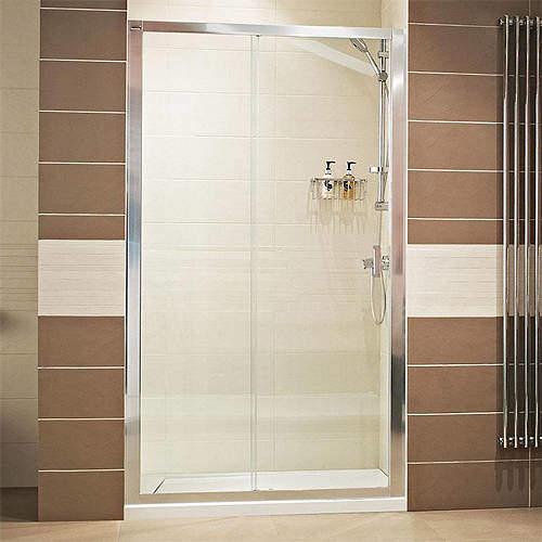 Roman Lumin8 Sliding Shower Door (1400mm, Silver Frame).