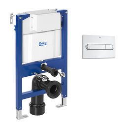 Roca Frames DUPLO LH Wall Hung Frame & PL1 Dual Flush Panel (Chrome).