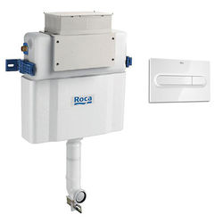 Roca Frames Low Height Concealed Cistern & PL1 Dual Flush Panel (White).
