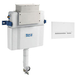 Roca Frames Low Height Concealed Cistern & PL5 Dual Flush Panel (White).