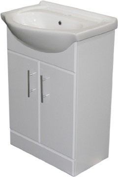 Roma Furniture 650mm White Vanity Unit, Ceramic Basin, Fully Assembled.