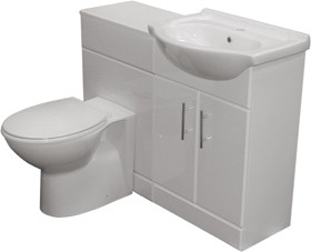 Roma Furniture Complete Vanity Suite In White, Right Handed. 1025x830x300mm.