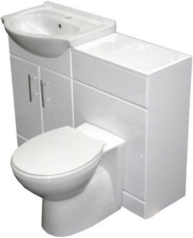 Roma Furniture Complete Vanity Suite In White, Left Handed. 1125x830x300mm.