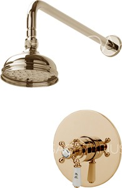 Sagittarius Kensington Shower Valve With Arm & 130mm Head (Gold).