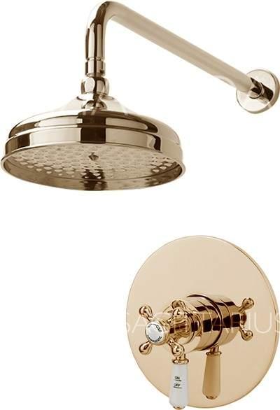 Sagittarius Kensington Shower Valve With Arm & 200mm Head (Gold).