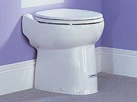 Saniflo Sanicompact cisternless ceramic WC with built-in macerator.