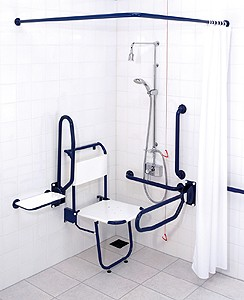 Doc M Sirrus Shower Pack With Blue Grab Rails.