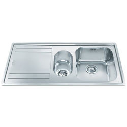 Smeg Sinks Rigae 1.5 Bowl Sink With Left Hand Drainer (Stainless Steel).
