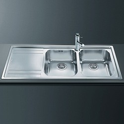 Rigae 2.0 Double Bowl Sink With Left Hand Drainer (S Steel). Smeg ...