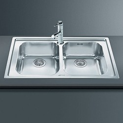 Smeg Sinks Rigae 2.0 Double Bowl Sink (Stainless Steel).