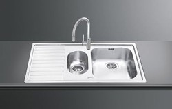 Smeg Sinks Alba 1.5 Bowl Sink, Left Hand Drainer (Stainless Steel Fabric).