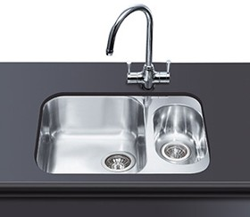 1 5 bowl stainless steel undermount kitchen sink smeg sinks sm um3416 rh taps4less com large kitchen sink bowls kitchen sink bowls and drainers