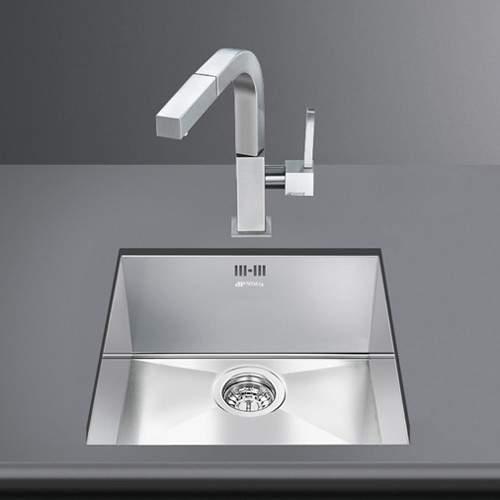 Smeg Sinks Quadra Undermount Kitchen Sink 400x400mm (S Steel).