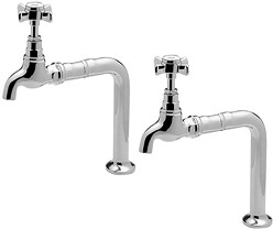 Tre Mercati Kitchen Bib Taps With Stands & Extensions (Chrome, Pair).