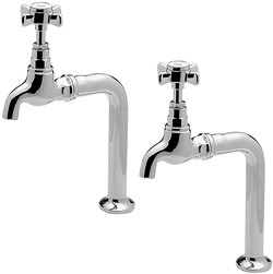 Tre Mercati Kitchen Imperial Bib Taps With Stands (Chrome, Pair).