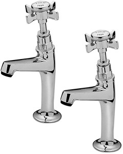 Tre Mercati Kitchen Imperial High Neck Pillar Taps (Chrome, Pair).