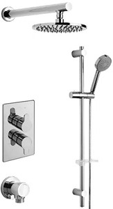 Tre Mercati Vamp Twin Thermostatic Shower Valve With Slide Rail & Head.
