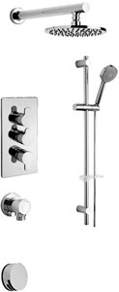 Tre Mercati Vamp Thermostatic 3 Way Shower Set (Chrome).