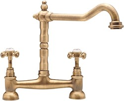 Tre Mercati Kitchen French Classic Bridge Mixer Kitchen Tap (Antique Brass).