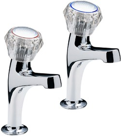 Tre Mercati Kitchen Economy High Neck Kitchen Taps With Clear Heads.