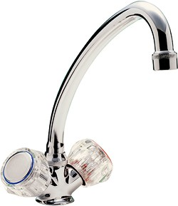 Tre Mercati Kitchen Capri Mixer Kitchen Tap With Clear Heads (Chrome).