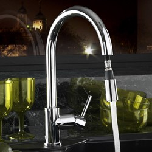 Tre Mercati Kitchen Pluto-Lite Kitchen Tap With Pull Out Spray (Chrome).