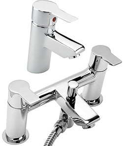 Tre Mercati Angle Bath Shower Mixer & Basin Tap Set (Chrome).