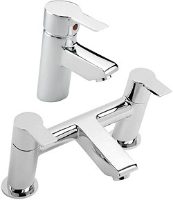 Tre Mercati Angle Bath Filler & Basin Tap Set (Chrome).