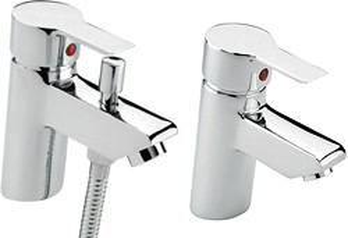 Tre Mercati Angle Mono Bath Shower Mixer & Basin Tap Set (Chrome).