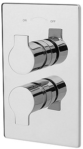 Tre Mercati Angle Thermostatic 2 Way Twin Shower Valve (Chrome).