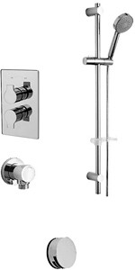 Tre Mercati Angle Twin Thermostatic Shower Valve With Slide Rail & Bath Filler.