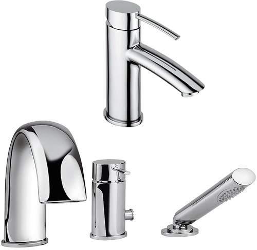 Tre Mercati Bella 3 Hole Bath Shower Mixer & Basin Tap Set (Chrome).