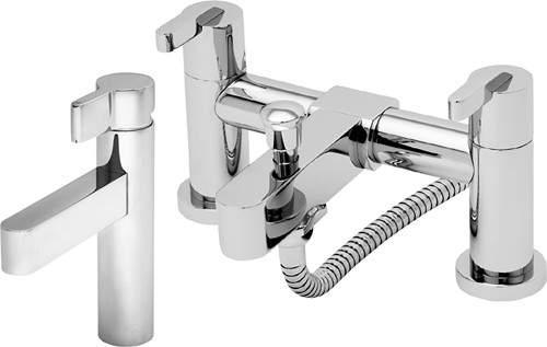Tre Mercati Cabana Basin & Bath Shower Mixer Tap Set (Chrome).