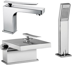 Tre Mercati Dance 2 Hole Bath Shower Mixer & Basin Tap Set (Chrome).