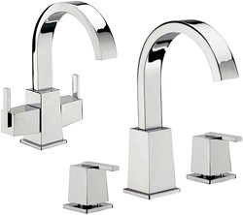 Tre Mercati Mr Darcy Basin Tap & 3 Hole Bath Filler Tap Set (Chrome).