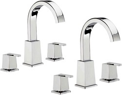 Tre Mercati Mr Darcy 3 Hole Basin & 3 Hole Bath Filler Tap Set (Chrome).