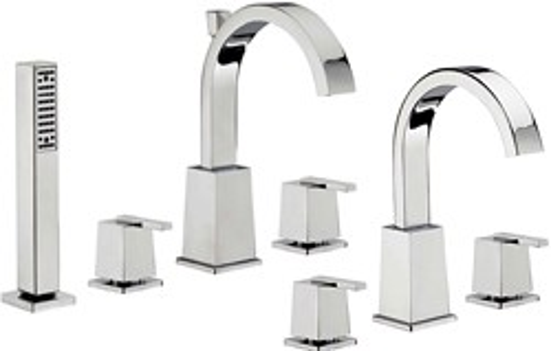 Tre Mercati Mr Darcy 3 Hole Basin & 4 Hole Bath Shower Mixer Tap Set.