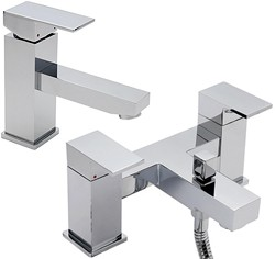 Tre Mercati Edge Bath Shower Mixer & Basin Tap Set (Chrome).