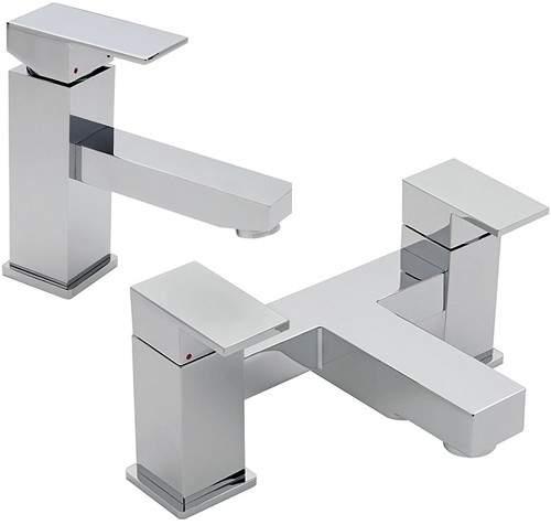 Tre Mercati Edge Bath Filler & Basin Tap Set (Chrome).