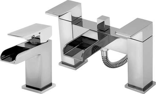 Tre Mercati Geysir Waterfall Basin & Bath Shower Mixer Tap Set.