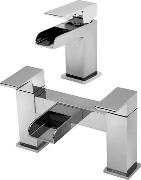Tre Mercati Geysir Waterfall Basin & Bath Filler Tap Set (Chrome).