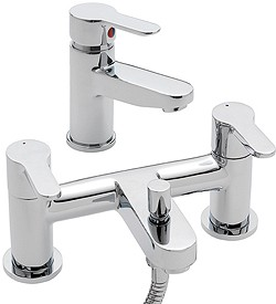 Tre Mercati Lollipop Bath Shower Mixer & Basin Tap Set (Chrome).