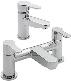 Tre Mercati Lollipop Bath Filler & Basin Tap Set (Chrome).