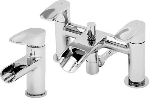 Tre Mercati Ora Waterfall Basin & Bath Shower Mixer Tap Set (Chrome).