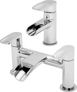 Tre Mercati Ora Waterfall Basin & Bath Filler Tap Set (Chrome).