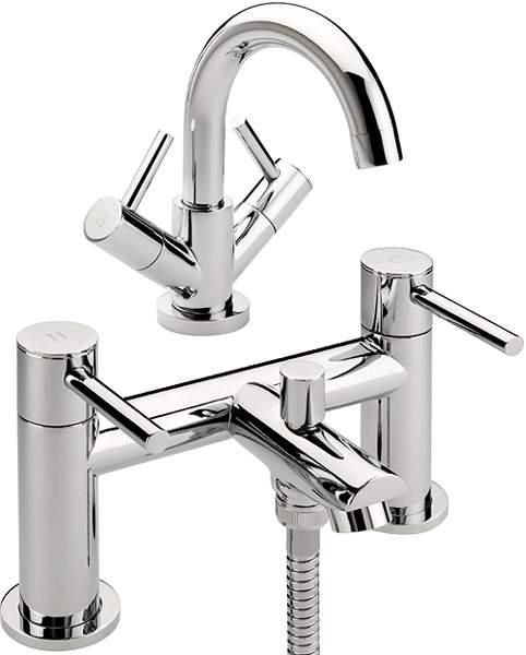 Tre Mercati Poppy Bath Shower Mixer & Basin Tap Set (Chrome).
