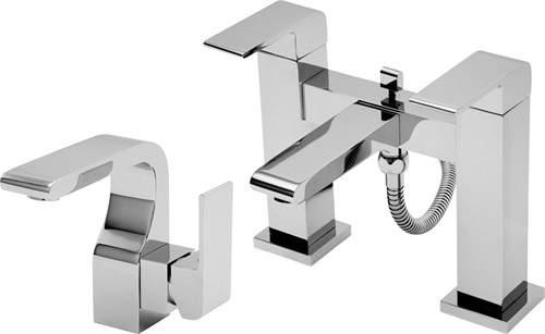 Tre Mercati Rubik Basin & Bath Shower Mixer Tap Set (Chrome).