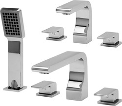 Tre Mercati Rubik 3 Hole Basin & 4 Hole Bath Shower Mixer Tap Set (Chrome).