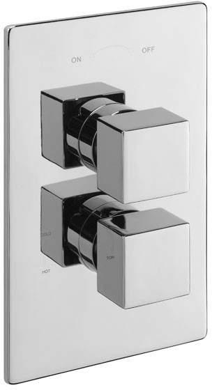 Tre Mercati Rubik Thermostatic Twin Shower Valve (Chrome).